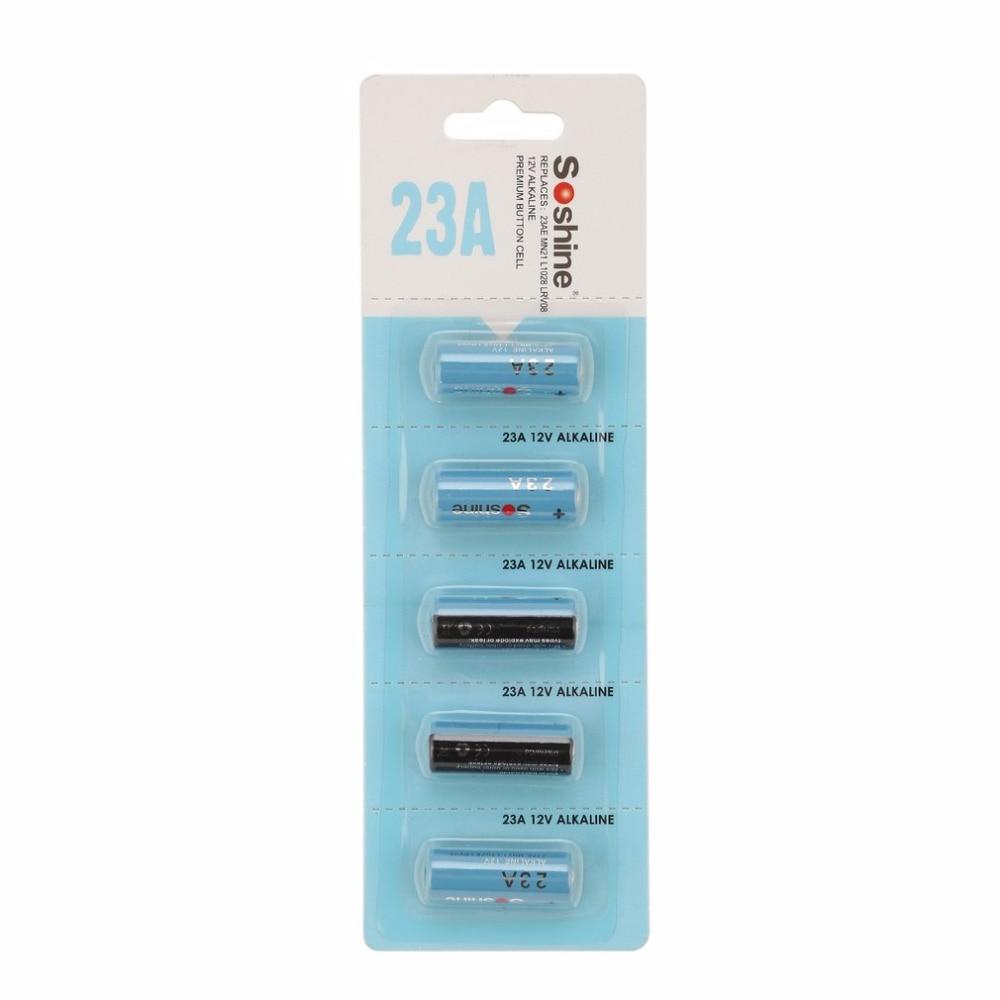 5Pcs Soshine Alkaline Battery 23A Battery MN21 L1028 LRV08 12V 56mAh Alkaline Battery High Performance for Garage Doors