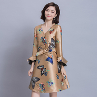 New Spring Fashion Women Dress Flare Sleeve Print Slim V Neck 2017 Celebrities A Word Dresses