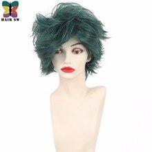 Короткие вьющиеся мой герой Академии Косплэй парик зеленый синтетический костюм пушистой парик волос SW