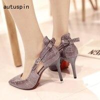 Autuspin Office Lady Pump Fashion Purple Women's Pumps Sweet Shoes Woman Slip on Sexy Elegant Women Heels Leisure New Party Heel