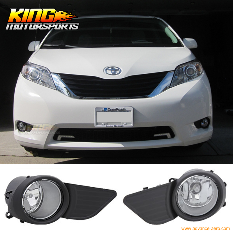 For 2011-2016 Toyota Sienna 5 Dr Clear Fog Lights Bumper Lamps With Switch USA Domestic Free Shipping Hot Selling fit for 02 08 toyota solara camry corolla oe fog light smoke lamps wiring kit included usa domestic free shipping hot selling