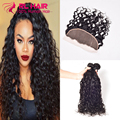 water wave brazilian virgin hair ear to ear lace frontal closure with bundles 100%human hair with closure 3 bundles with closure