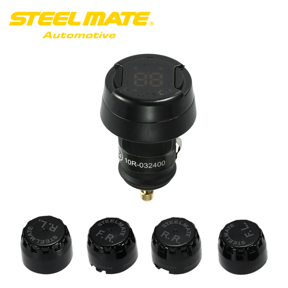 Steelmate TP-70 Wireless DIY TPMS Tire Pressure Monitor System Car Alarm System Kit Diagnostic Tool LCD Display with 4 Sensors steelmate tp 03s tpms tire pressure monitoring system with lcd display cigarette plug 4 valve cap external sensors steel mate