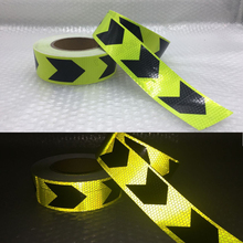 Fluorescent yellow Margin arrow PET Reflective Tape Safety Warning for car free shipping