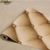 beibehang Faux Leather soft pack bed living room TV backdrop bedroom wallpaper 3D wallpaper outlets wallpapers roll wall paper