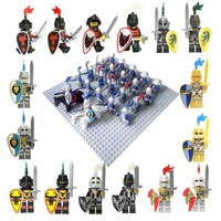 24pcs Medieval Age Castle Knights Lion Golden Dragon Slive Hawk Compatible Building Block Rome Warrior Knight