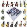 24pcs Medieval Age Castle Knights Lion Golden Dragon Slive Hawk Compatible Building Block Rome Warrior Knight