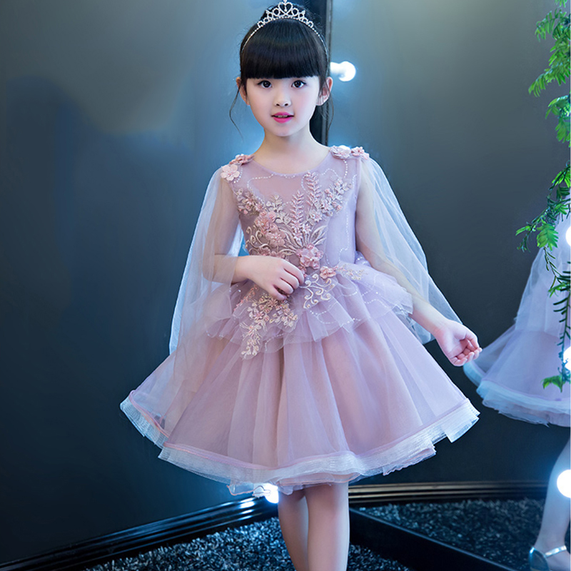 Princess Dress Ball Gown Flower Girl Dresses for Wedding Beading Floral Evening Gowns Knee Length Kids Pageant Dress Birthday luxury princess dress evening gowns birthday floral pearl beading girls formal dress detatchable trailing flower girl dresses b page 3