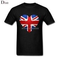 UK GB Britische Union Jack-flagge Graffiti herz Shirt Für Männer Verrückt Kurzarm Baumwolle Benutzerdefinierte XXXL Gruppe T-shirts