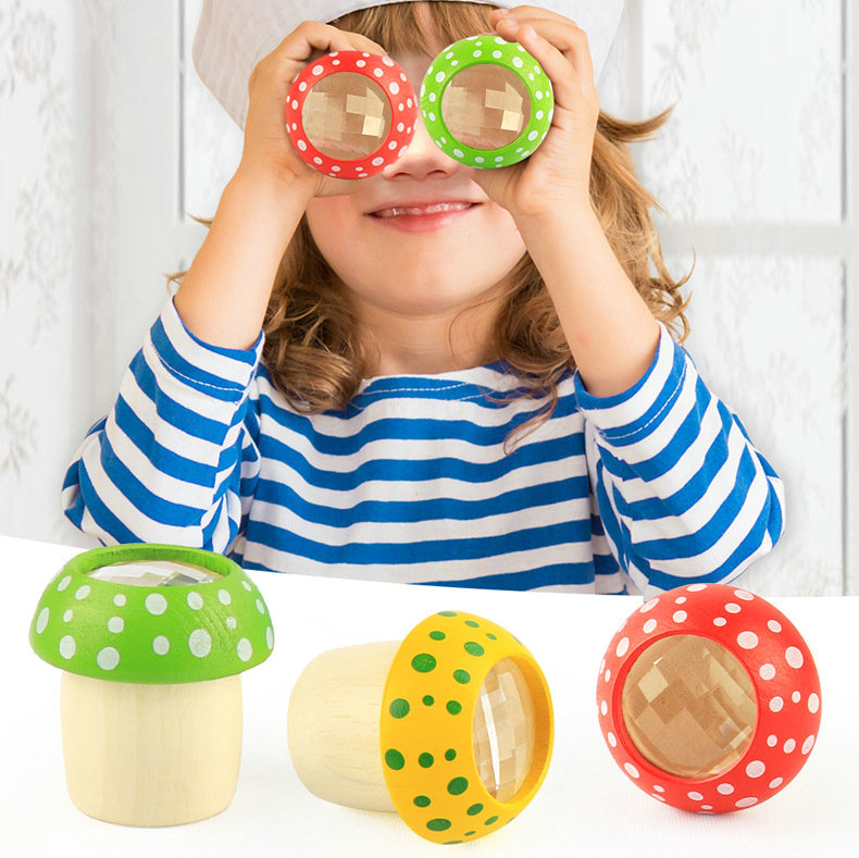 4pcs Mushroom Kaleidoscope, Polyscope Kindergarten Suppli, Amazing Bee Eye Effect, Children's Fun Wooden Puzzle Exploration Toy