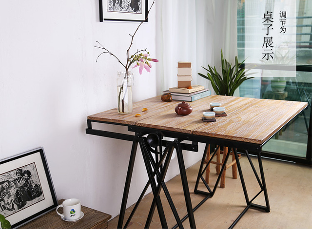 Multifunction Folding Telescopic Lift Racks Solid Wood Dining Table Wrought Iron Coffee