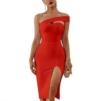 цена на Women Dress Elegant Solid Color Women Summer Off Shoulder Side Slit Bodycon Midi Party Dress Summer Dress Sexy  Women Dress 2020