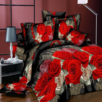 Classic bedding set print red flower bed linen 4pcs/set duvet cover set Pastoral bed sheet side duvet cover 2019 bed hot 4pcs geo print duvet cover set
