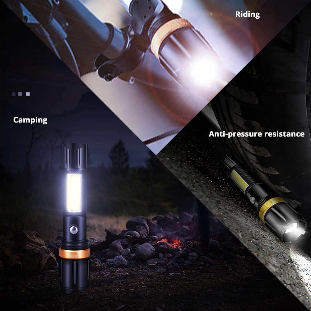 Купить с кэшбэком Super bright Waterproof LED Flashlight With COB side light Rotary zoom 3 lighting modes Powered by 18650 battery for camping