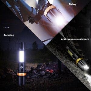 Image 5 - Super helle Wasserdichte LED Taschenlampe Mit COB seite licht Dreh zoom 3 beleuchtung modi Angetrieben durch 18650 batterie für camping
