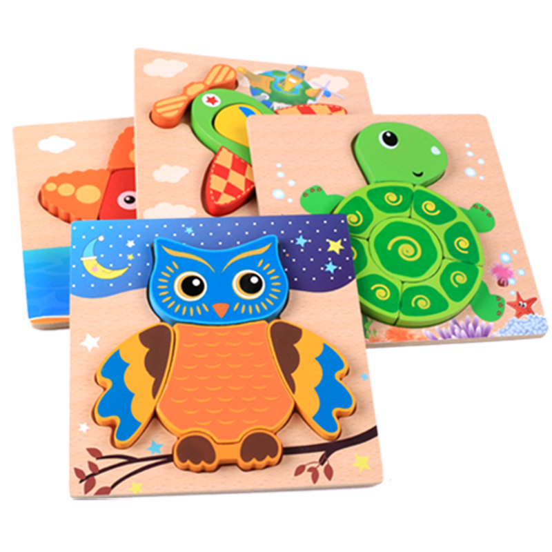 Kids Wooden Montessori Material Clever Board Educational Montessori Toys For Children Owls 3D Puzzles Baby Teaching Aids Toy