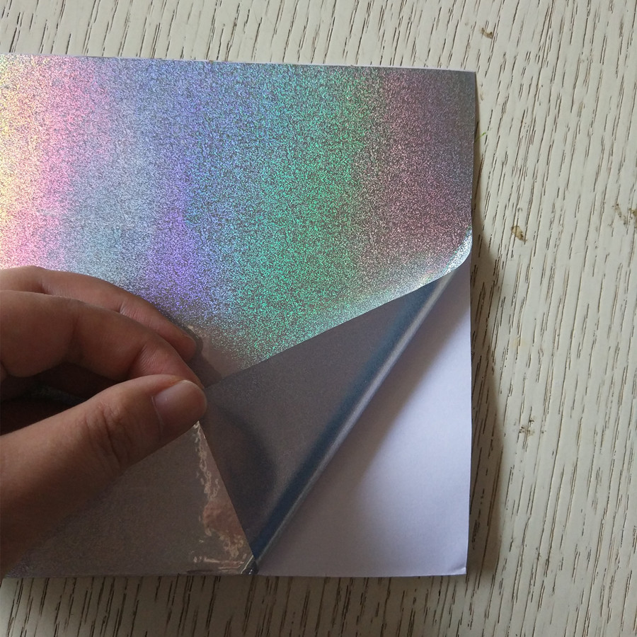 self-adhesive Sticker holographic blown sand PP film with glue 16cm x 40m/25m/12m in roll 5sheets pack 10cm x 5cm holographic adhesive film fly tying laser rainbow materials sticker film flash tape for fly lure fishing