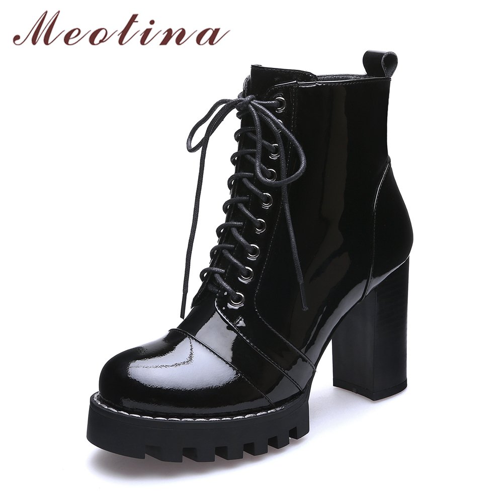 Meotina Genuine Leather Women Boots Winter Platform High ...