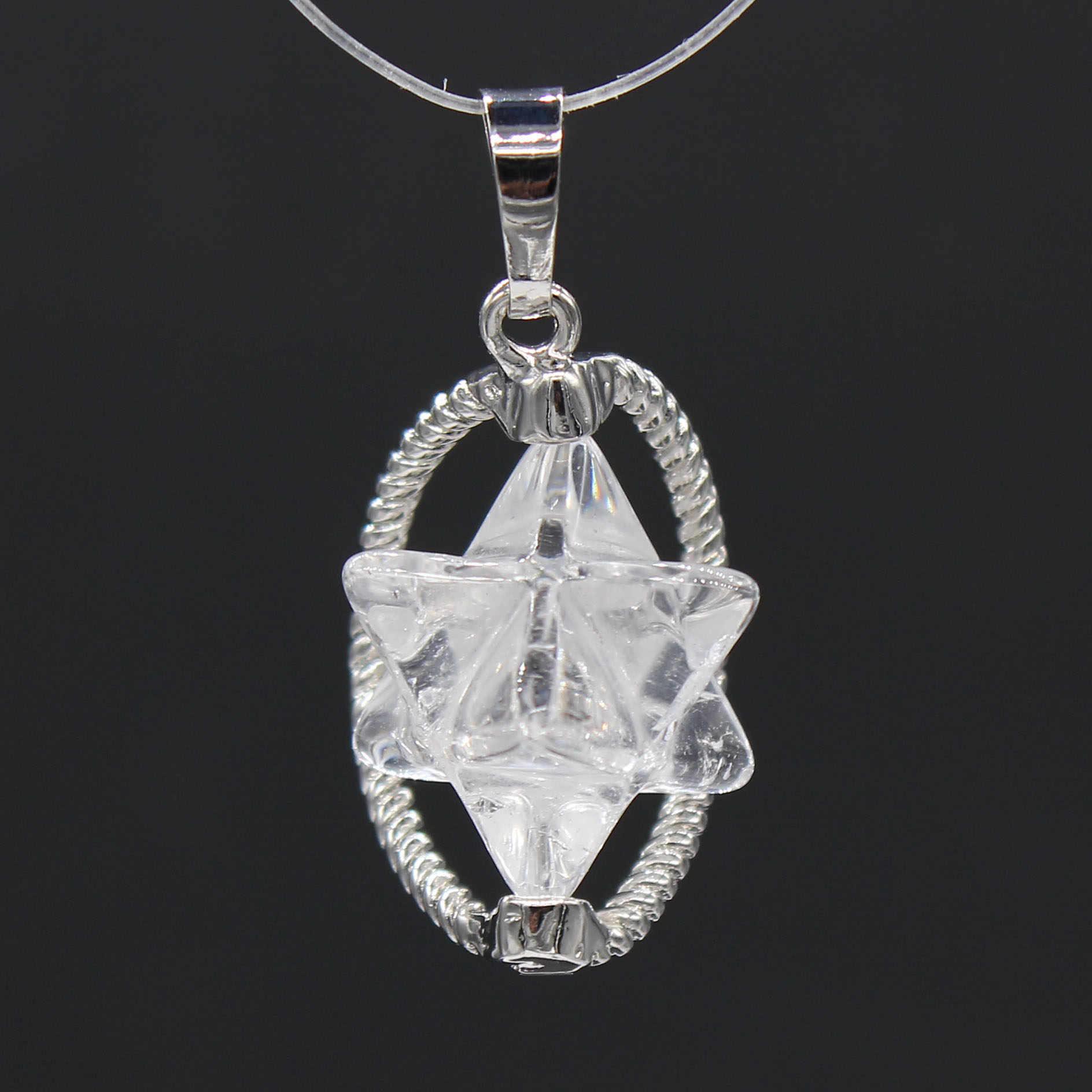 100-уникальный 1 шт классический с серебряным покрытием MerKaBa Природный рок-кристалл кулон для амулет ювелирные изделия