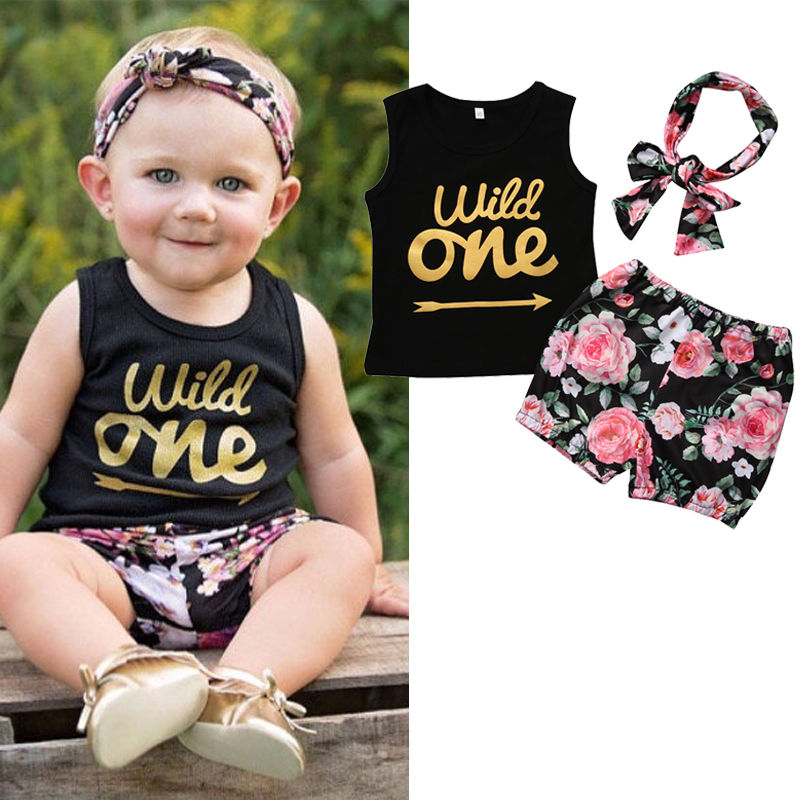 3pcs Baby Girl Floral Clothes Set Toddler Kids Baby Girl Letter Vest Tops Girls Cute Flower Shorts Headband Outfits Set kids outfits letter pattern tops in white