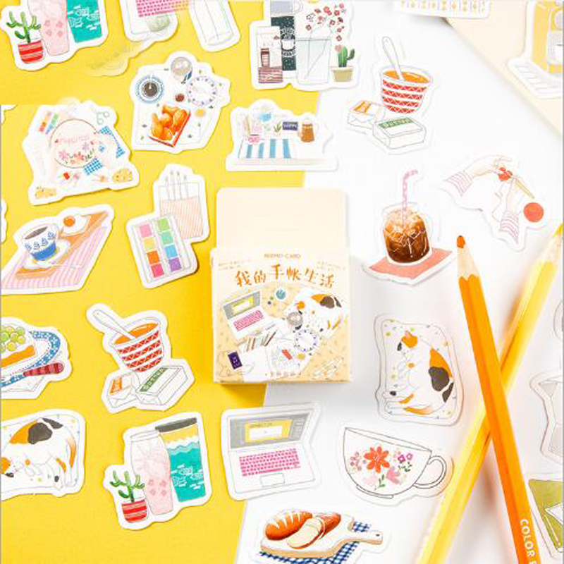 45 Pcs/box My Hand Account Life Label Stickers Decorative Stationery Craft Stickers Diary Scrapbooking DIY Gift For Children