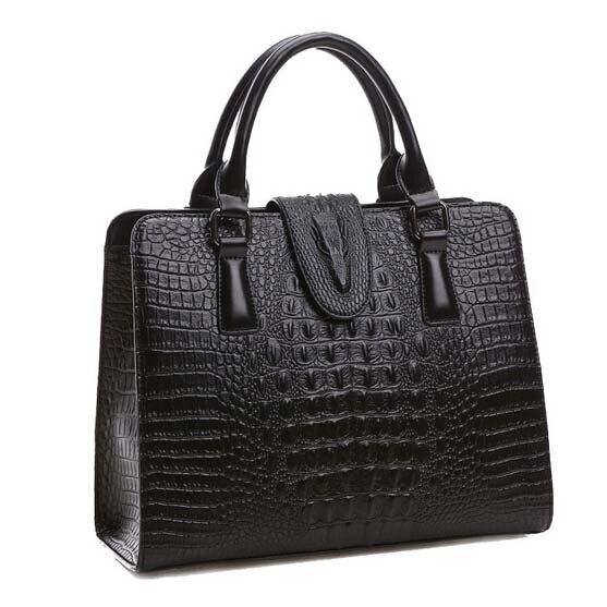 High quality Genuine leather font b bag b font ladies crocodile pattern font b Women b