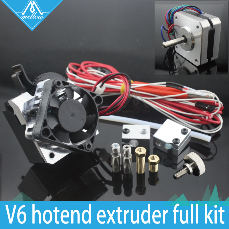 Free shipping 3D printer parts Titan Aero V6 hotend extruder full kit +Volcano nozzle kit for  Desktop FDM  reprap mk8  i3 zanyaptr 3d printer titan extruder kits for desktop fdm reprap mk8 kossel j head bowden pruse i3 mounting bracket