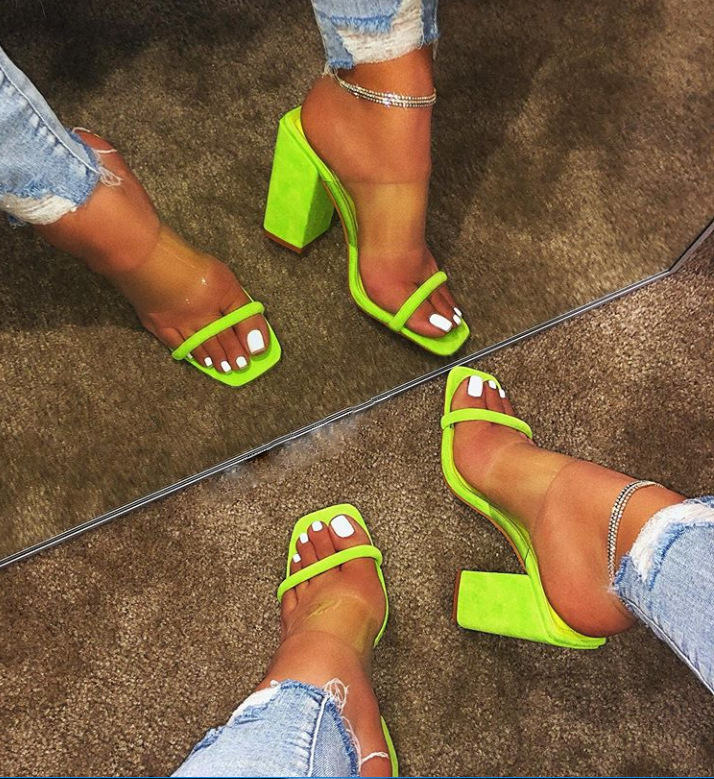 2019 Fashion Summer Women Sandals Slip on High Heel Jelly Shoes Ladies Outdoor Holiday Sandals For Dropshipping in High Heels from Shoes