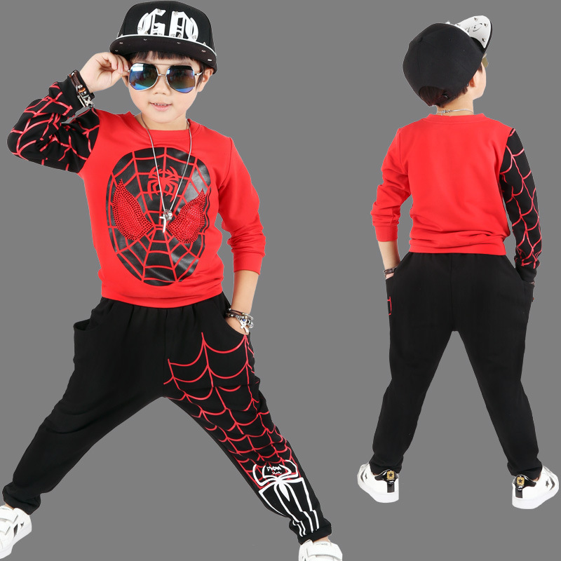 New Kids Sports Children Clothing Sets Spider Man Boys Spiderman Cosplay Sport Suit Kids Sets Coat + pants 2pcs. Boys Clothes 2015 new arrive super league christmas outfit pajamas for boys kids children suit st 004
