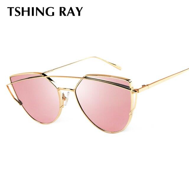 TSHING RAY Mulheres Moda Twin-Vigas Ouro Rosa Olho de Gato Óculos de Sol Das b405ec2623