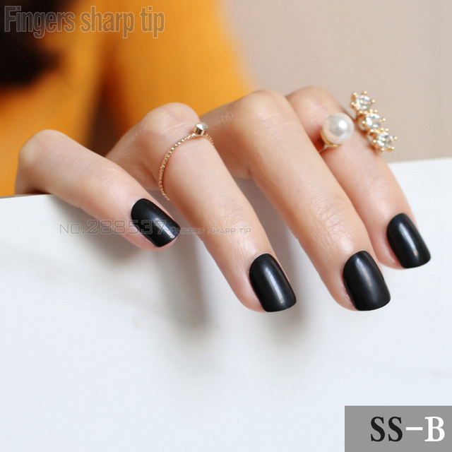 2017 New 24pcs False Nails Pure Black Candy Short Paragraph Round Square Head Comfortable Multicolor All