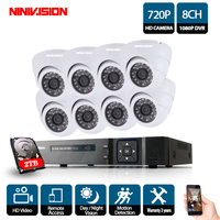 8 Channel 1080P DVR 8CH AHD 8*720P 1.0MP Cameras indoor Night Vision Surveillance Home Video CCTV Camera System Kit 2TB HDD