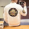 Плюс размер М-5XL китай стиль мужчины зимняя куртка дракон вышивка мужской уличной моды хип-хоп сгущает пальто вскользь пальто MY11