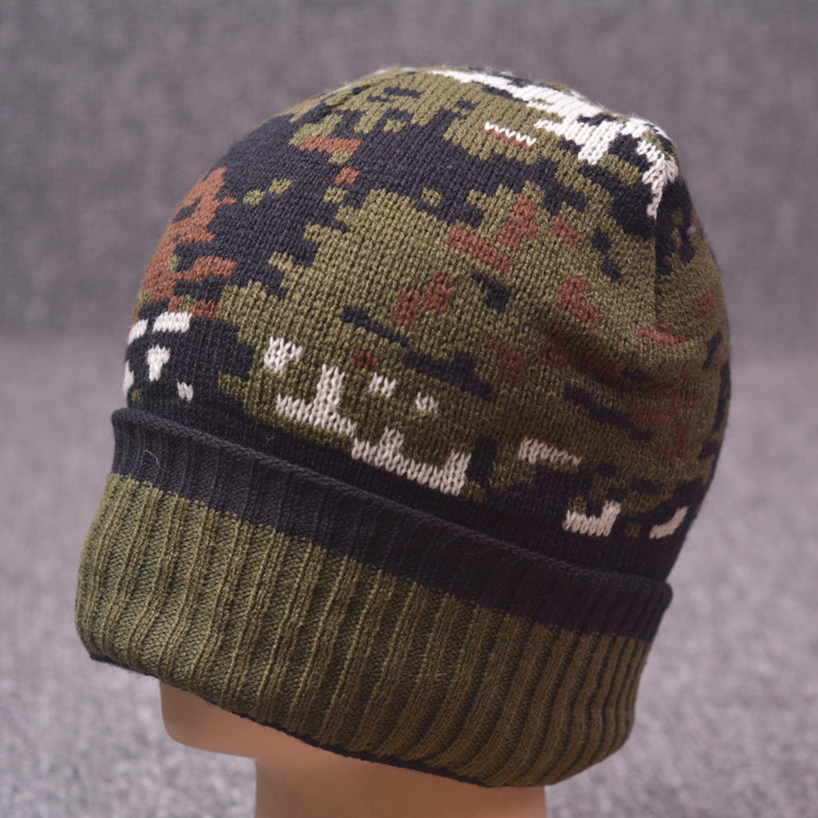 Camouflage Winter Beanies men Knitted wool hat Warm Soft Beanie plus velvet Cap bonnet Drop shipping For Men Women Turban hats hip hop beanie hat baggy unisex cap thick warm knitted hats for women men bonnet homme femme winter cap plus velvet beanies