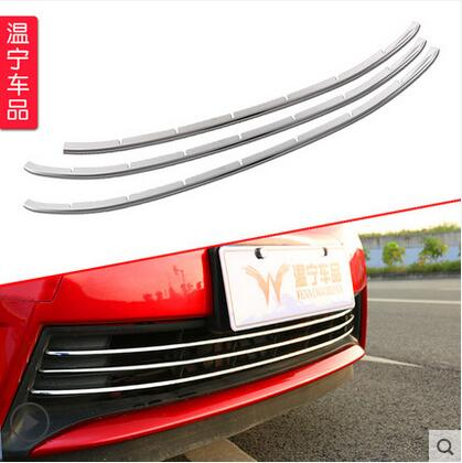 Car styling 3 pcs chrome front grille, front and rear decorative, fine barbecue season 2014 2015 2016 for Toyota Corolla