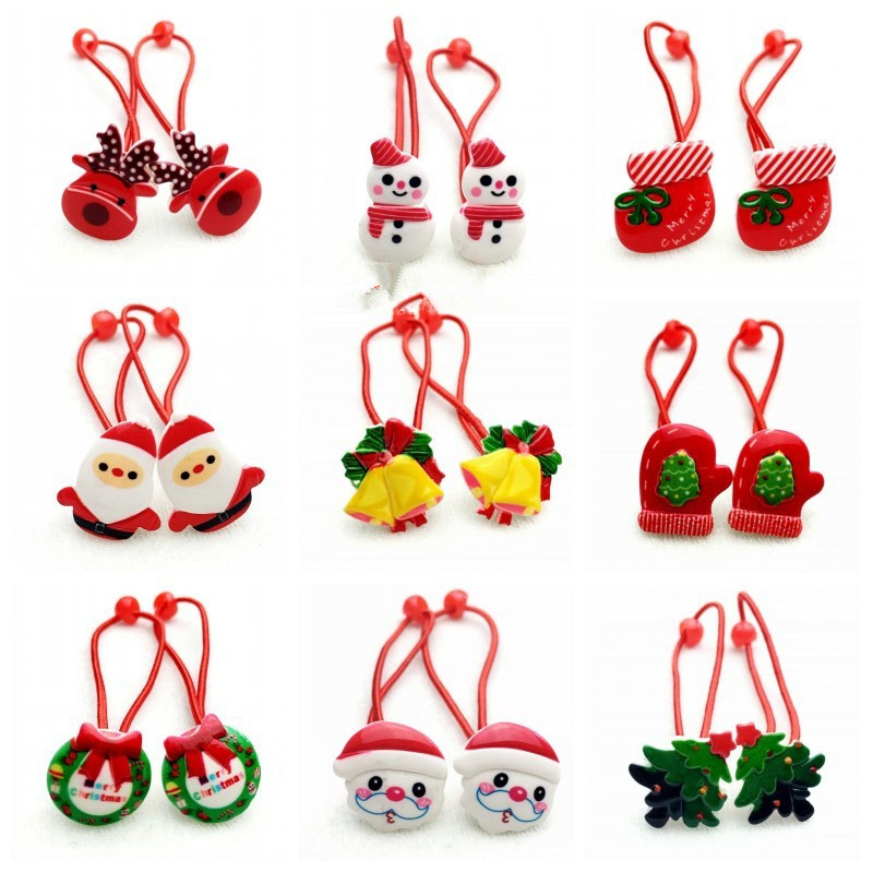 10pcs/set Christmas Sweet Elastic Hairband Santa Claus Christmas Tree Socks Cartoon For Girl Kids Hair Accessories Holiday Gifts santa claus christmas tree for window glass can diy wall sticker