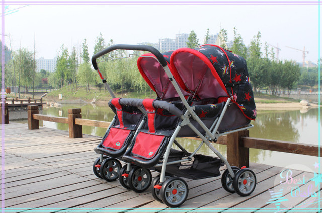 Twins Stroller Red Cloth Star Printing Design Children Prefer Cartoon Colors Simple But Fashion Made In China