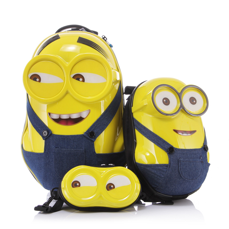 Minions Child luggage children trolley 3D Cartoon backpack cartoon pattern custom suitcase