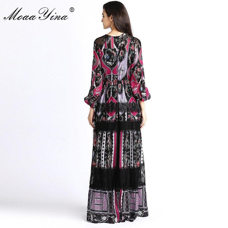 Spliced Folk Fashion Élégant Indie Robe Robes Lanterne Femmes Automne Printemps Noir Moaayina Designer Piste Imprimer Manches Dentelle Maxi q7xwvFd