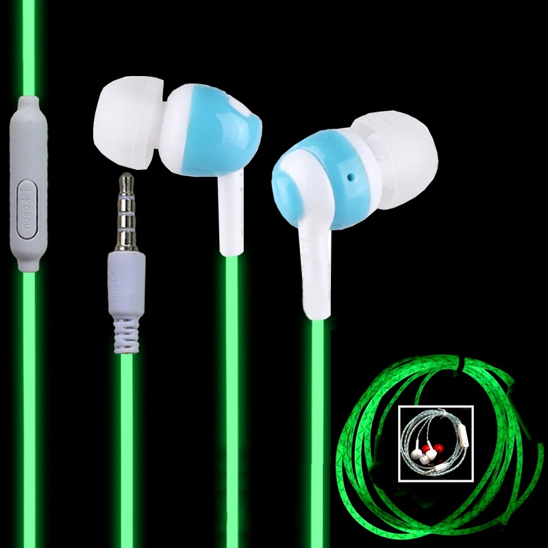 Hot Glow In The Dark In-Ear Earphone Cool Luminous Neon Earbud With Microphone Los auriculares For Yotaphone Samsung Xiaomi смартфон yotaphone 2