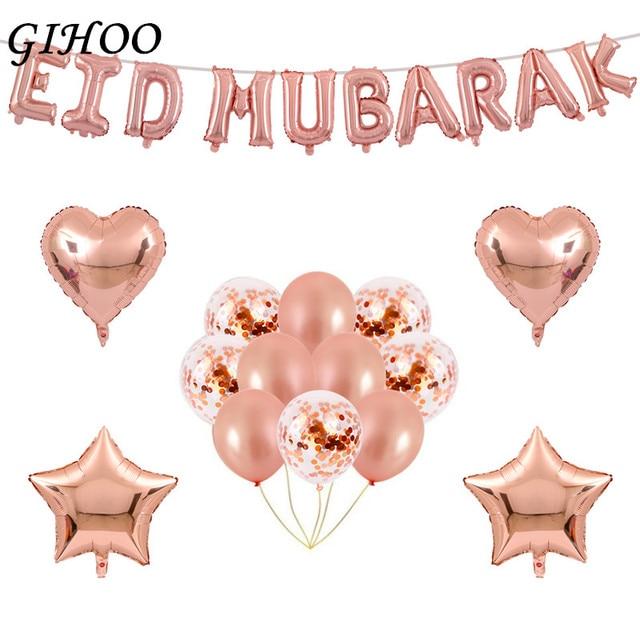 Globos GIHOO de 16 pulgadas, globos EID mubarak Decoración de Ramadán de oro rosa EID para decoración musulmana de fiesta feliz, globos de confeti