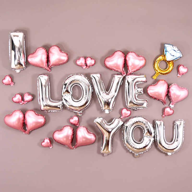 29 pscI LOVE YOU บอลลูนอลูมิเนียม 5 นิ้วและ 10 นิ้วลูกโป่งรูปหัวใจงานแต่งงานอุปกรณ์ตกแต่ง