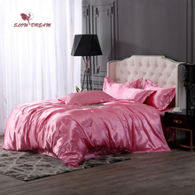 SlowDream Pink Bedding Set Pure Silk Silky Luxury Bedspread Home Decor Duvet Cover Bedclothes Flat Sheet Bed Linens