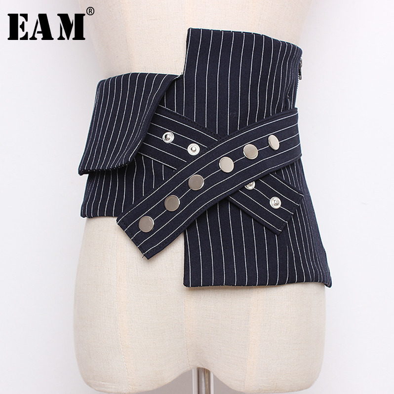 [EAM] 2019 Four Seasons  Fashionable Striped Spliced Hit Color Irregular Wide Zippers Covered Button Waist Wide Belt LD0415
