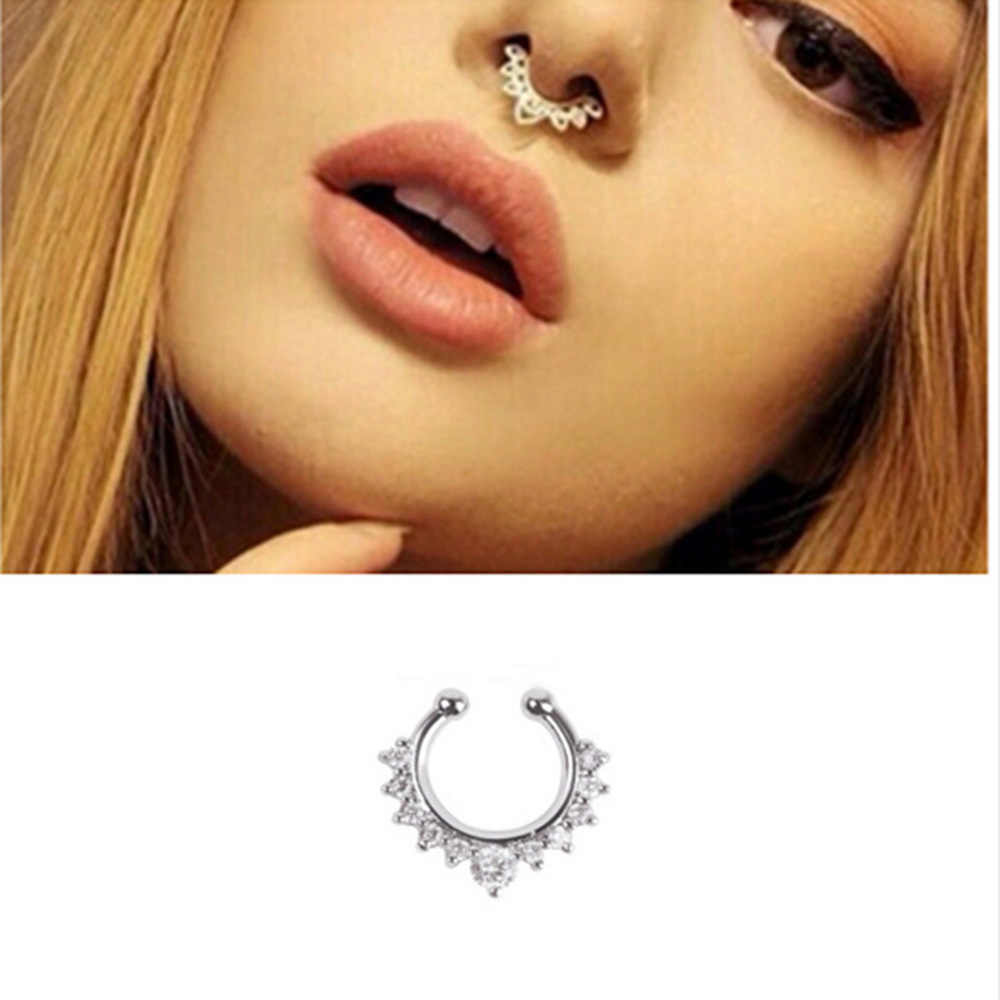New Arrival Alloy Hoop Nose Ring Nose Piercing Fake Earrings labret Piercing Septum Clicker Numbers Hanger For Jewelry