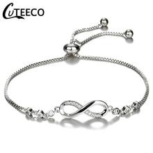 CUTEECO европейские модные женские Подвески браслет кубического циркония бренд браслет Бесконечность Браслеты для женщин ювелирные изделия подарок