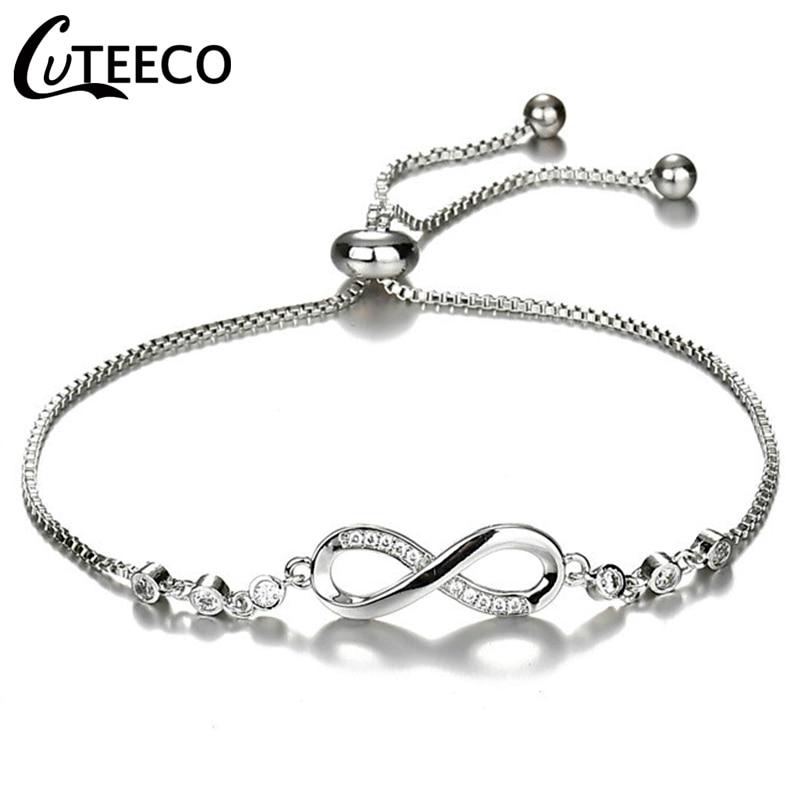CUTEECO European Fashion Lady Charms Bracelet Cubic Zirconia Brand Bracelet Infinity Bracelets for Women Jewelry Gift