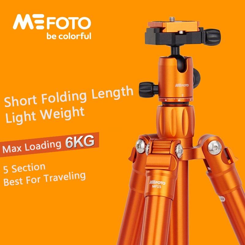 MeFoto MF15 trépied réflexed monopode Selfie bâton Mini Portable trépied pour caméra avec tête à bille 5 Section DHL livraison gratuite