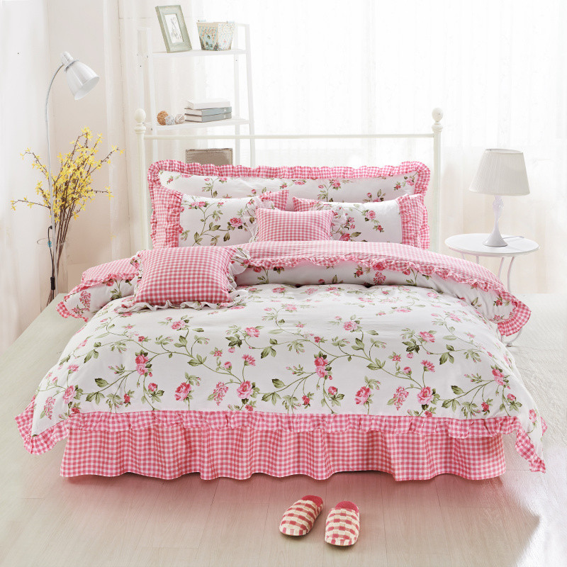Ruffles Bed skirt Egyptian cotton printing Flowers Duvet Cover Sets Pillowcase Bedlinen 4pcs Twin Queen King Size Bedding Sets ...