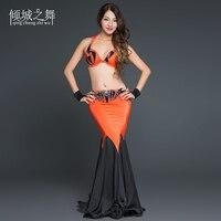 Профессиональное исполнение живота танцевальная одежда наряд Для женщин высокое Класс Bellydance Костюмы для выступления одежда YC028